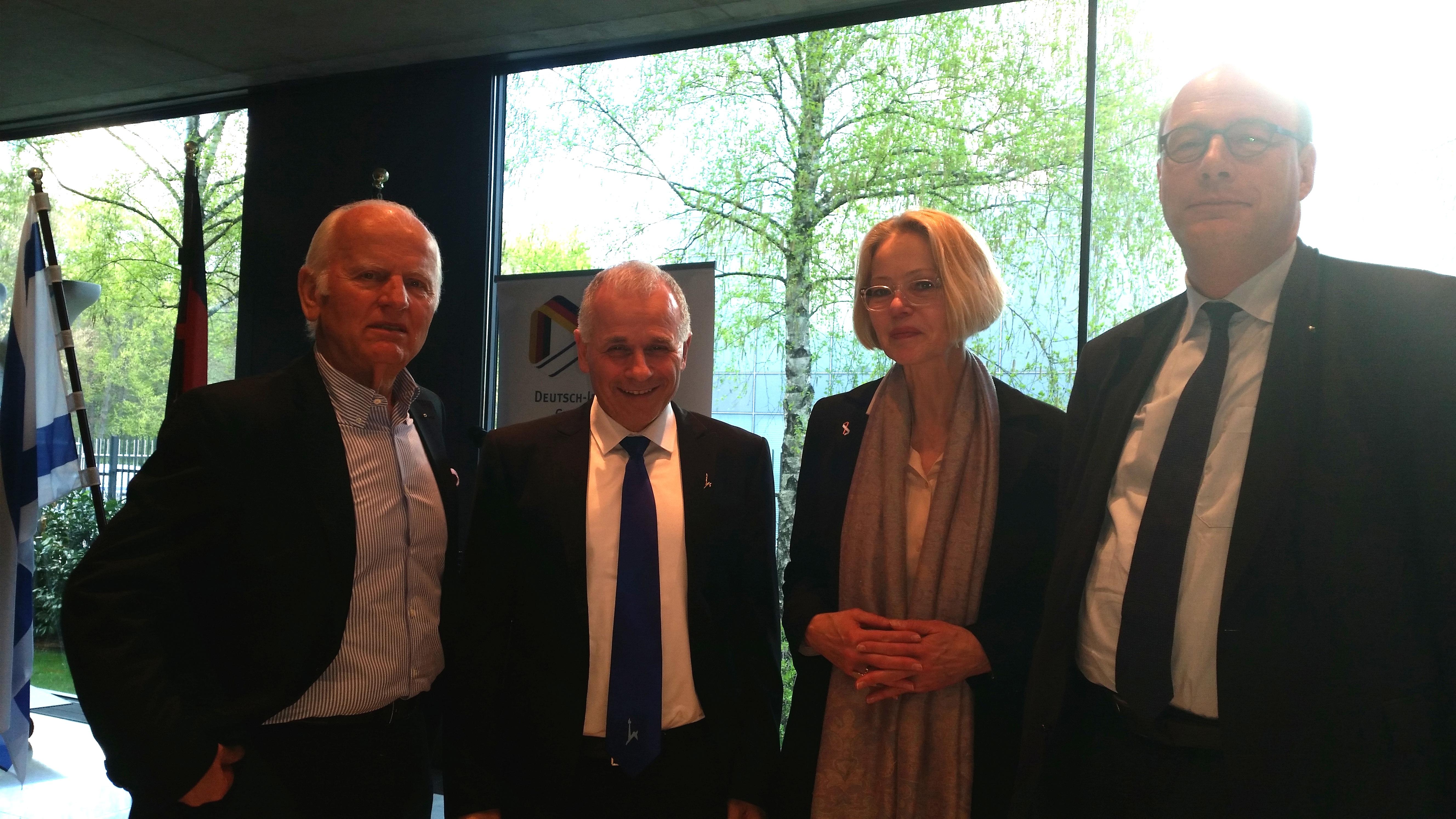 Jochen Feilcke, Prof. Dr. Asher Cohen, Dr. Gesine Palmer und Prof. Dr. Christoph Markschies bei der Kooperationsverantsaltung der DIG und KAS (April 2016)