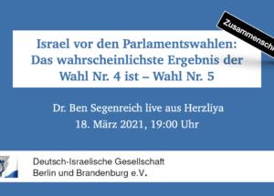 Zusammenschnitt: Israel vor den Parlamentswahlen – Das wahrscheinlichste Ergebnis der Wahl Nr. 4 ist – Wahl Nr. 5